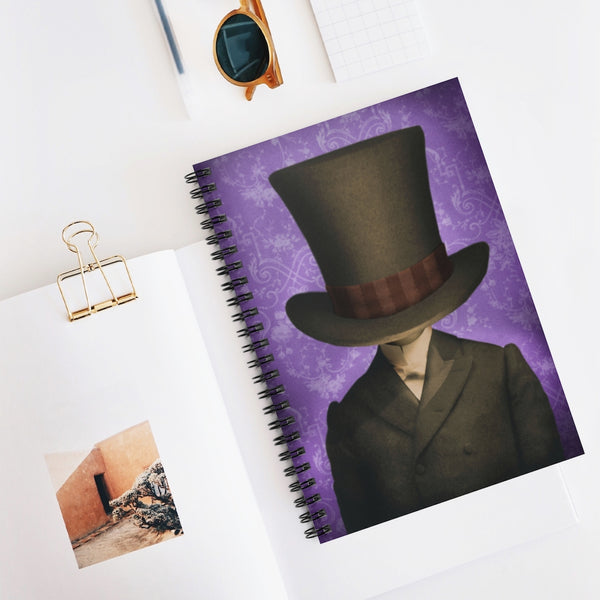 Hat Head Victorian fantasy photo. Spiral Notebook - Ruled Line, vintage style graphic, top hatted man, Mad Hatter, hand painted antique photo