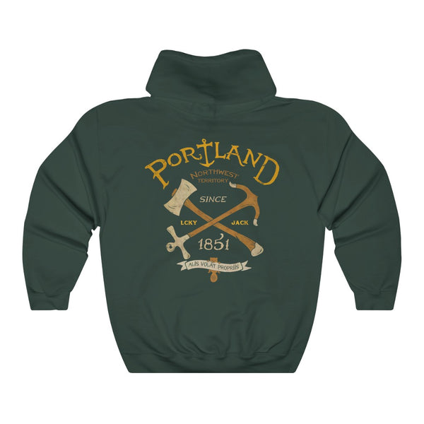 Portland - by LCKY JACK (for Trixie & Milo) - Hoodie, PDX, nature, Oregon, retro, axe, anchor