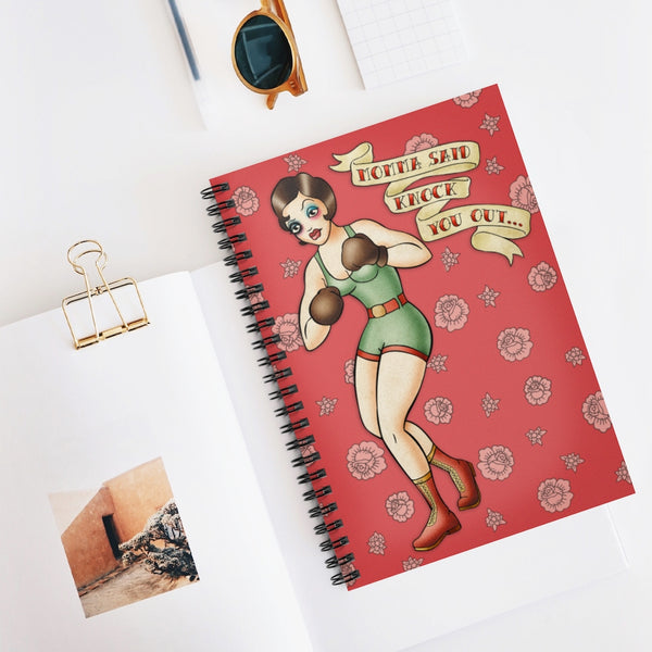 Momma Said Knock You Out... by LCKY JACK. Spiral Notebook - Ruled Line, cool vintage style tattoo flash design.