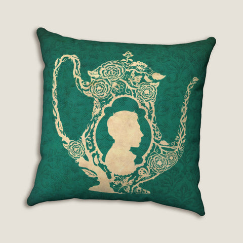"Tea Dreams man - Throw Pillow by LCKY JACK, 14""x14"" or 20""x20"", silhouette pillow, tea lovers, victorian gentleman, beautiful blue pattern"