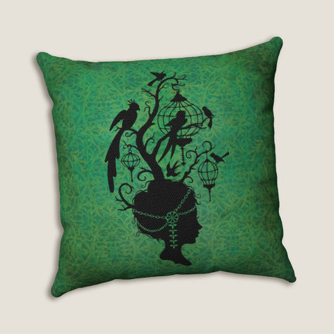 "Bird Cage Head woman #1- Throw Pillow by LCKY JACK, 14""x14"" or 20""x20"", silhouette, 1920s head dress, victorian woman, romantic cottage"
