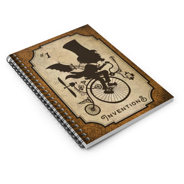 Inventions #1 by LCKY JACK. Spiral Notebook - vintage style, retro notebook, steampunk notebook, cyclist, Victorian inventor, back to school