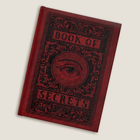 The Book of Secrets Journal - Blank pages by LCKY JACK, faux leather style journal, fun notebook, red diary / sketchbook
