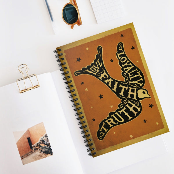 Love, Faith, Truth & Loyalty Bird - spiral notebook - Ruled Line, beautiful and cool silhouette, swallow bird, inspirational design journal, note book