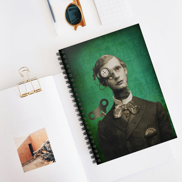Clockwork Boy Victorian fantasy photo. Spiral Notebook - Ruled Line, vintage style graphic, steampunk portrait, hand painted antique photo