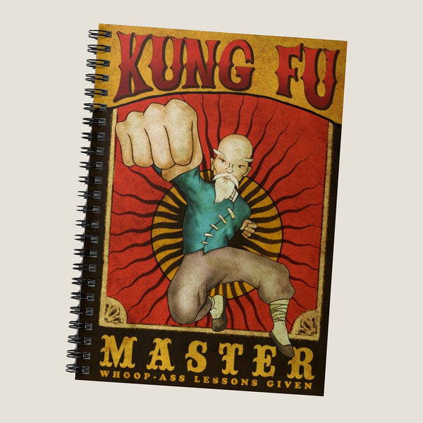 Kung Fu Master (whoop-ass lessons given) by LCKY JACK. Spiral Notebook - Ruled Line, vintage, martial arts, Asian, fighting