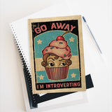 Go Away I'm Introverting  - Blank pages journal / sketchbook by LCKY JACK, vintage style graphic, cute cupcake sarcastic back to school