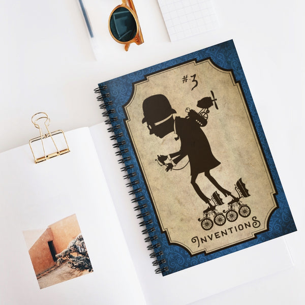 Inventions #3, the Roller Fan by LCKY JACK. Spiral Notebook - vintage style notebook, steampunk design, funny roller skater, Victorian inventor, back to school, journal