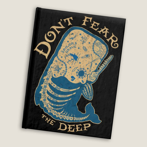 Don't Fear the Deep  - Blank pages journal / sketchbook by LCKY JACK, vintage style graphic, tattoo notebook, whale skeleton, vintage style sketchbook,