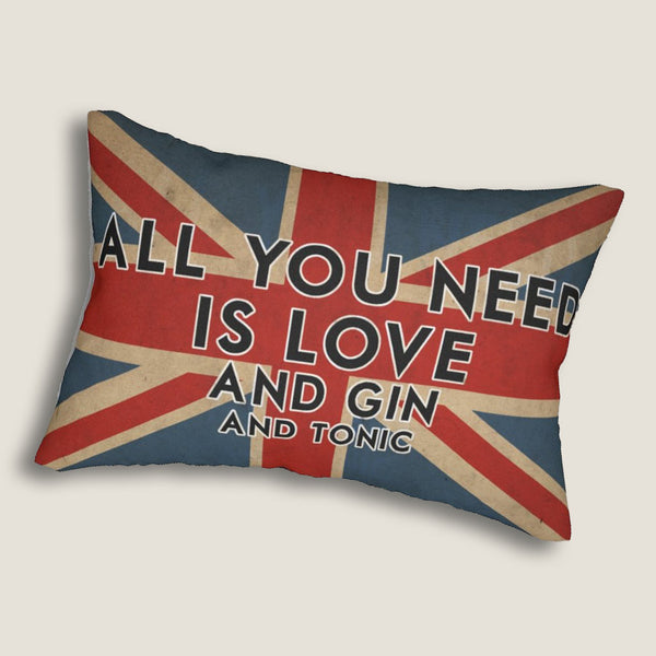 "All You Need Is Love (and Gin and Tonic) -14""X20"", Lumbar Pillow by LCKY JACK - British flag, Gin & Tonic, Beatles quote pillow"