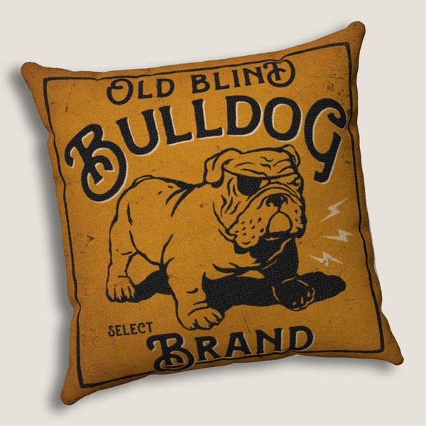 "Old Blind Bulldog - Throw Pillow by LCKY JACK, 14""x14""or 20""x20"", whiskey lover's pillow, Georgia bulldog, vintage label pillow"