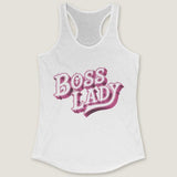 Boss Lady - by LCKY JACK - Women's Ideal Racerback Tank Pink Girls Women's Tee Shirt Retro Vintage Style for wife boss girlfriend in charge