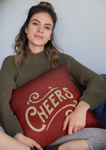 "Cheers - Throw Pillow by LCKY JACK, 14""x14""or 20""x20"", Bar pillow, lounge pillow, cute accent pillow, drinking pillow"