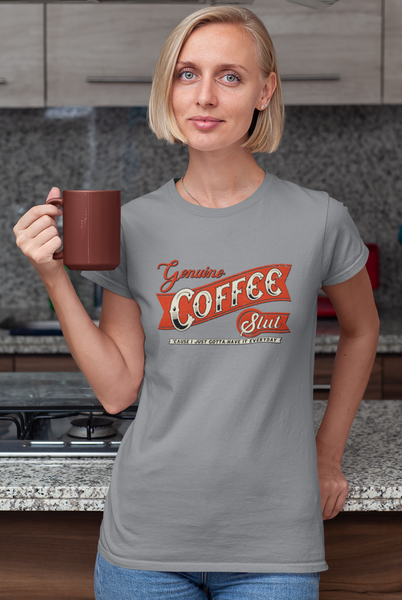 Genuine Coffee Slut by LCKY JACK -Unisex Heavy Cotton Tee, funny, sarcastic coffee lover tee shirt, cute caffeine lover shirt