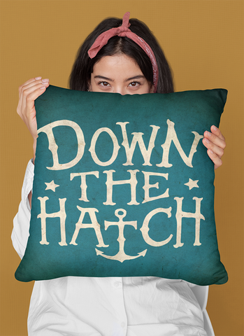 "Down the Hatch - Throw Pillow by LCKY JACK, 14""x14""or 20""x20"", Bar pillow, lounge pillow, cute accent pillow, drinking pillow"