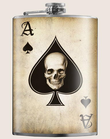 Ace of Spades- Hip Flask Classic barware by Trixie & Milo. Biker gift. Gift for Men, creative barware, booze hip flask