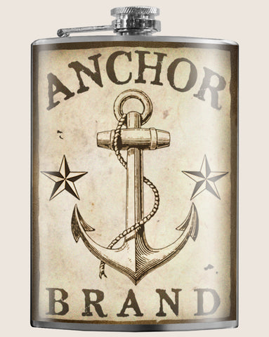 A classic sailor tattoo design; ANCHOR BRAND flask. Steadfast and dependable. Great gifts for Men. Gifts for Her. Classic barware design. If you love Moonshine, Vodka, or any Booze stand out wherever you go! Head to Spring break or a Speakeasy with a cool flask. Great for bachelorette parties, a wedding gift or just stylish hydration!