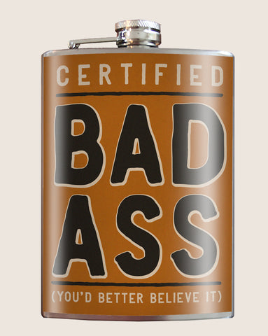Certified Badass- Hip Flask Classic & Cool barware by Trixie & Milo