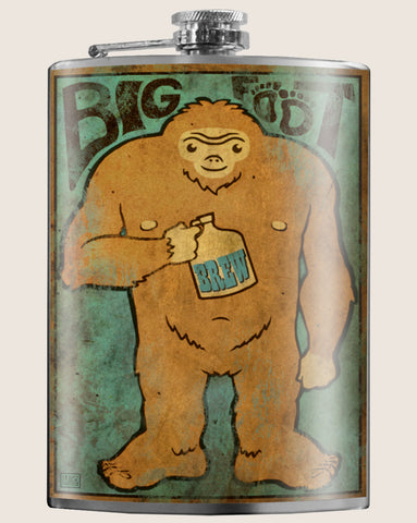 Bigfoot- Hip Flask Classic barware by Trixie & Milo. A perfect gift for men- creative barware idea, or bachelorette party gift.