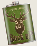 Buck Up- Hip Flask Classic barware by Trixie & Milo. A perfect gift for hunters- creative barware idea, or bachelorette party gift.