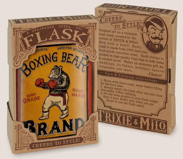 Boxing Bear Brand - vintage style, funny bear, boxer, whiskey lover, gift for him - 8oz Stainless Steel Flask - comes in a gift box - by Trixie & Milo