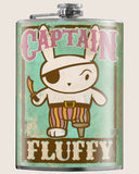 Captain Fluffy- Hip Flask Classic barware by Trixie & Milo. A perfect gift for men- creative barware idea, or bachelorette party gift.