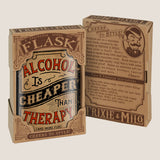 Alcohol Is Cheaper Than Therapy - Funny, Sarcastic, Gag Gift - 8oz Stainless Steel Flask - comes in a gift box - by Trixie & Milo