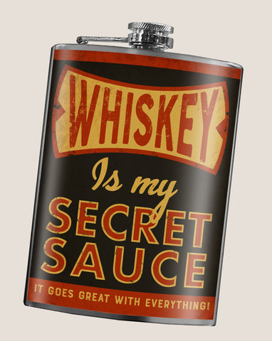 Whiskey Is My Secret Sauce - Funny, Vintage, Sarcastic - 8oz Stainless Steel Flask - comes in a gift box - by Trixie & Milo