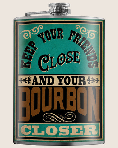 Keep Your Bourbon Closer- Hip Flask Classic barware by Trixie & Milo. A perfect gift for men, bourbon lovers- creative barware idea, or bachelorette party gift.