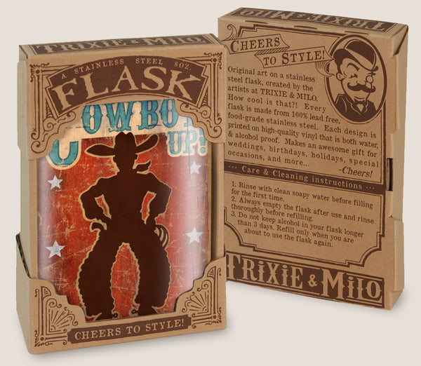Cowboy Up- Hip Flask Classic barware by Trixie & Milo. A perfect gift for cowboys- creative barware idea, or bachelorette party gift.