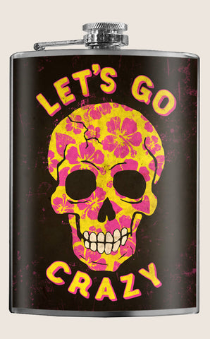 Let's Go Crazy - Funny, Vintage, Novelty - 8oz Stainless Steel Flask - comes in a gift box - by Trixie & Milo
