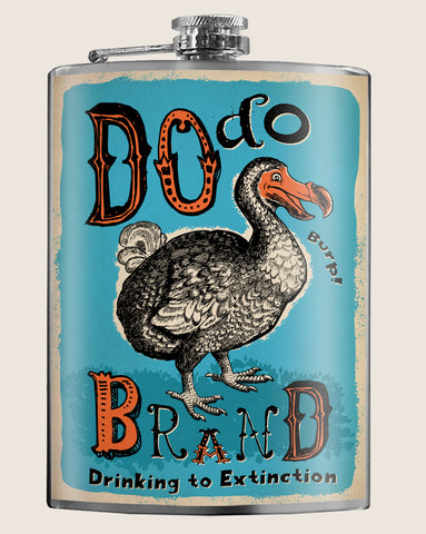 Dodo Brand (Blue) - Funny, Retro, Drinking - 8oz Stainless Steel Flask - comes in a gift box - by Trixie & Milo