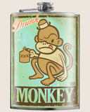 Drunk Monkey- Hip Flask Classic barware by Trixie & Milo. Party gift. A perfect gift for men- creative barware idea, or bachelorette party gift.