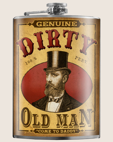 Dirty Old Man- Hip Flask Classic barware by Trixe & Milo. A perfect gift for Father's Day- creative barware idea, or bachelorette party gift.
