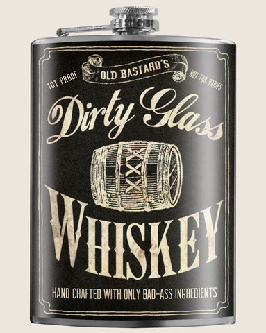 Dirty Glass Whiskey- Hip Flask Classic barware by Trixie & Milo. A perfect gift for men- creative barware idea, or bachelorette party gift.