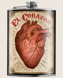 El Corazon (The Heart) Hip Flask Classic barware by Trixie & Milo. A perfect gift for men- creative barware idea, or bachelorette party gift.