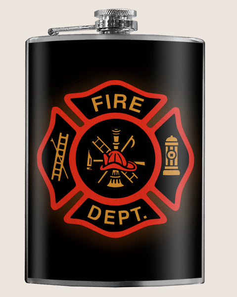 The Fire Department - Firefighter, Father's Day, Drinking - 8oz Stainless Steel Flask - comes in a gift box - by Trixie & Milo
