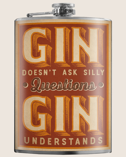 Gin Understands- Hip Flask Classic barware by Trixie & Milo. Gin lovers. A perfect gift for men- creative barware idea, or bachelorette party gift.