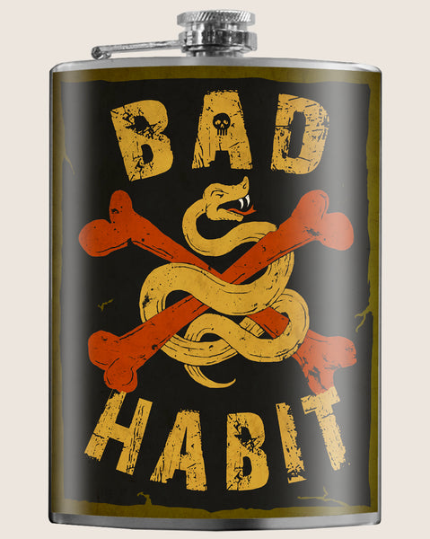 Bad Habit- Hip Flask Classic barware by Trixie & Milo. A perfect gift for men- creative barware idea, or bachelorette party gift.