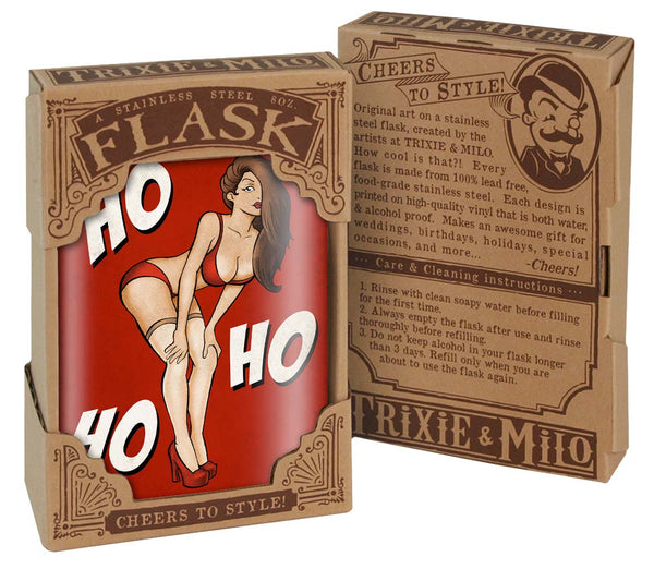 Ho, Ho, Ho - Flask 8oz. funny and cute stocking stuffer, great Christmas gift idea, drinking gift