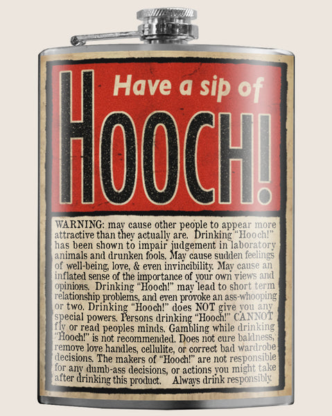 Hooch! Hip Flask Classic barware by Trixie & Milo. A perfect gift for men- creative barware idea, or bachelorette party gift.