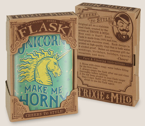 Horny (unicorn) Hip Flask Classic barware by Trixie & Milo. A perfect gift for men- creative barware idea, or bachelorette party gift.