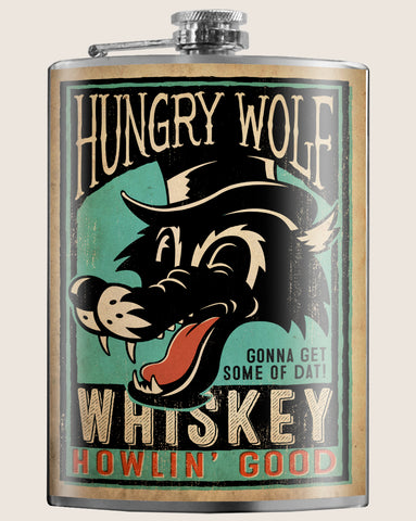 Hungry Wolf- Hip Flask Classic barware by Trixie & Milo. A perfect gift for men- creative barware idea, or bachelorette party gift.