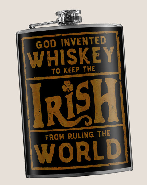 SPECIAL PRICE - Irish Rule The World - Funny, Vintage, St. Patrick's Day - 8oz Stainless Steel Flask - comes in a gift box - by Trixie & Milo