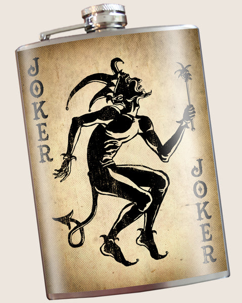 Joker- Hip Flask Classic barware by Trixie & Milo. A perfect gift for men- creative barware idea, or bachelorette party gift.