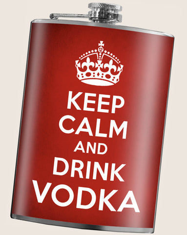 Keep Calm and Drink Vodka- Hip Flask Classic barware by Trixie & Milo. A perfect gift for men- creative barware idea, or bachelorette party gift.