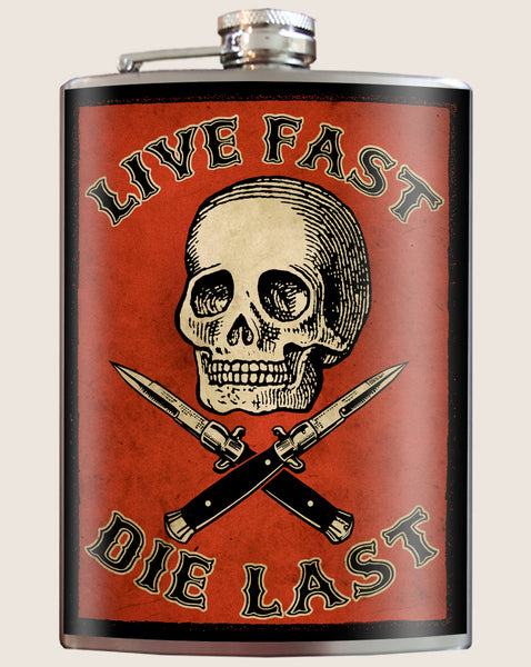 Live Fast, Die Last- Hip Flask Classic barware by Trixie & Milo. A perfect gift for bikers- creative barware idea, or bachelor party gift.