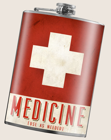 Medicine- Hip Flask Classic barware by Trixie & Milo. A perfect gift for men- creative barware idea, or bachelorette party gift.