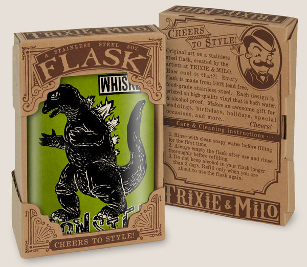 Whiskey Monster- Hip Flask Classic barware by Trixie & Milo. Godzilla. A perfect gift for men- creative barware idea, or bachelorette party gift.