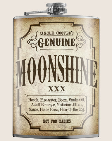 Genuine Mooshine- Hip Flask Classic barware by Trixie & Milo. A perfect gift for lovers of booze and mooshine- creative barware idea, or bachelorette party gift.